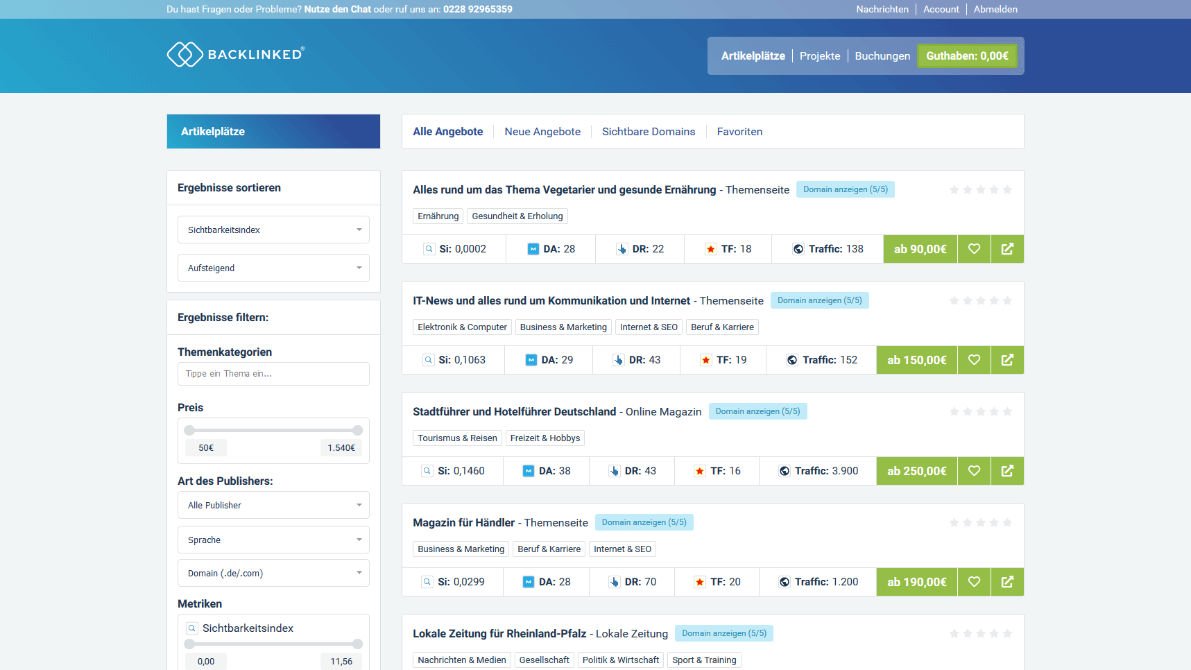 Backlinked App Artikelplätze