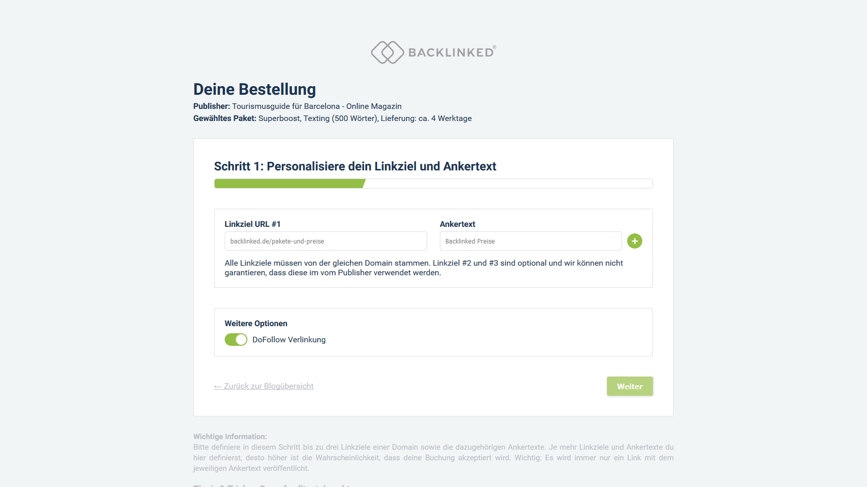 Backlinked App Artikelplatz buchen