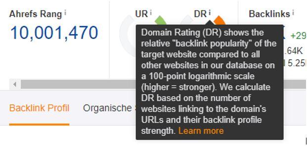Ahrefs Domain Rating Erklärung