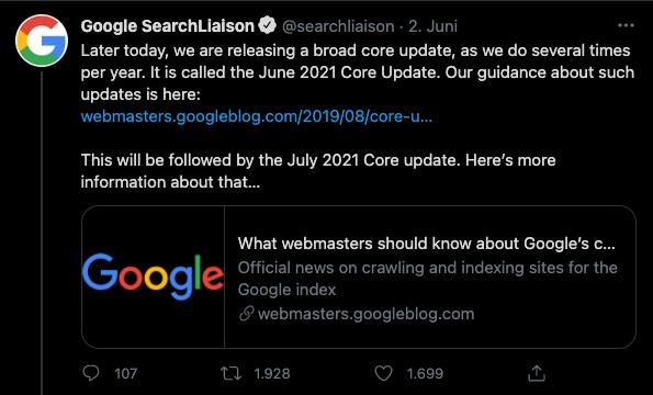 Google Core Updates im Sommer 2021